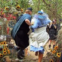 Bride and groom, Viking wedding briom jump (not a viking tradition but hey...)...