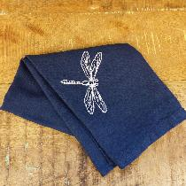 Embroidered tea towel using mid weight navy linen...