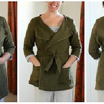 Jacket J from Happy Homemade Sew Chic, a translated from Japanese sewing book. In IL019 Olive, o...