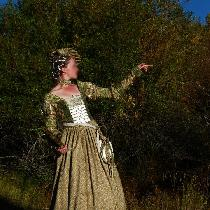 This 1520's German 'Cranach' gown is made from a green and gold linen thrift-store find, and has...
