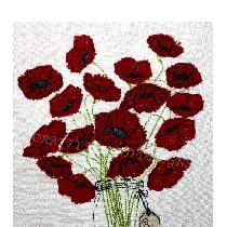 'POPPY LOVE' - applique designed and stitched by me using doggie bag linen pieces...