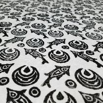 Detail of the printed linen used to make the fish pants. The block was made by me and is based o...