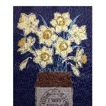 DAFFODILS - raw edge applique designed and stitched by me using doggie bag linen scraps...