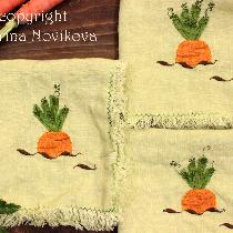 and something to Easter dinner table - napkins with carrot applique...