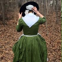 An 18th century English gown in IL019 VINEYARD GREEN Softened....