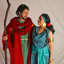 Moses and Tzipporah from The Prince of Egypt. All naturally dyed linen tunics. Moses' wool robe ...