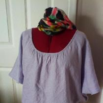 Bias cut blouse in IL020 SILVER LILAC. ...