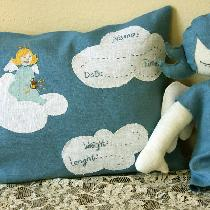 Birth announcement pillow with hand embroidered elements - Angelic feel :-)...