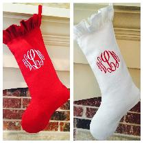 Our beautiful linen Christmas stockings designed with an elegant monogram and ruffle detailing m...