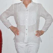 Tuxedo shirt made with optic white  handkerchief linen IL202 perfect for Hawaii....