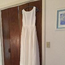 My daughters wedding dress - a blend of two vintage patterns made from optic white handkerchief ...