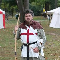 English Archer, c1415. The sage green tunic, white surcoat and brown hood are all linen.  My hos...