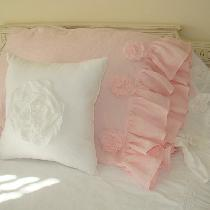 "Linen Pillow Cases and 14"" Accent Pillow. All with tattered flowers attached.  I used IL020 in O..."