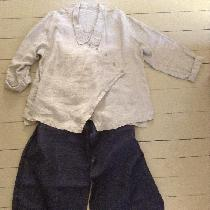 Natural linen shirt self-drafted pattern. Linen/cotton denim jeans Sewing Workshop pattern...