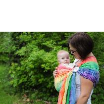 This is a ring sling. I took white linen and tie dyed it. It helps parents keep their child clos...
