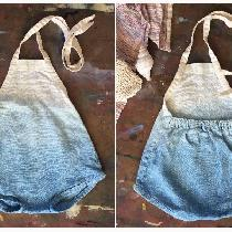 Simple linen baby romper, dip dyed in indigo. Inspired by one of my vintage rompers I wore as a ...