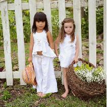 The Little Gems Girl Toddler 100% linen collection #IL019 white...