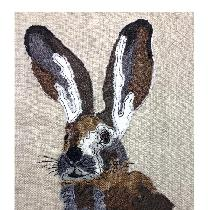 'HARE' - designed and stitched by myself using doggie bag scraps...