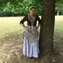 Revolutionary War Woman on the Ration - Striped linen petticoats, Checked linen apron, and white...