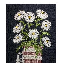 OOPS a DAISIES - raw edge applique designed and stitched by me using doggie bag linen pieces...