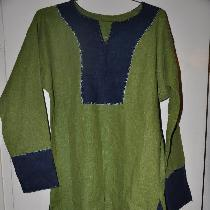 Viking outer tunic made with Green and Cobalt Blue 4C22 Linen  Top stitching is hand done...
