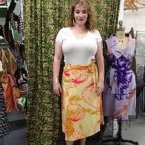 Linen wrap skirt. Hand dyed with marigolds and screenprinted with hot pink coconuts and mustard ...