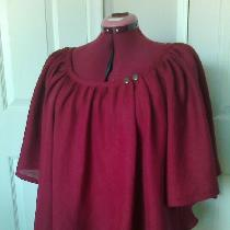 Bias cut blouse with raglan sleeves in IL020 BEET RED...