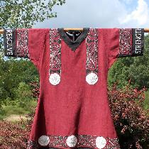 Swordfighting tunic made with 4C22 Linen, trimmed with IL019 Linen, and extensively decorated wi...