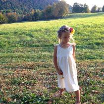 Simple Linen Flower Girl Dress with hand stitched neckline....