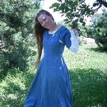 This is a dress based on the styles of 1100's Sweden.  I used IL019 in Bluebonnet and Optic Whit...