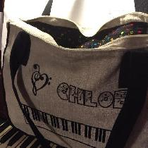 PIANO BAG  made with natural and black linen, lined with music note print cotton....