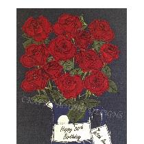 ROSES - raw edge applique designed and stitched by me using doggie bag linen scraps...