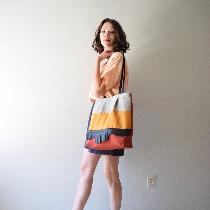 Top, shorts + tote made with Fabrics-Store linen. Nine Iron, Apricot Ice, Sedona, Autumn Gold, a...