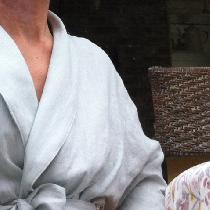 "I just LOVE this bathrobe I made in ""Dove"" linen..perfect fabric for those ""hot flashes""!..."