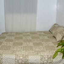 Reversible queen size bedspread and matching pillow covers Made from linen jacquard  flower patc...