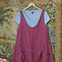 Linen summer Jumper with large front pockets.....Tawny Port color linen...