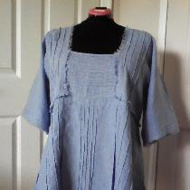 Rustic tunic with pintucks and distressed rough edges in IL019 WISTERIA...