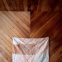 """Onion skin study quilt""  Hand dyed bleached linen and cottons with variations of onion skins fr..."