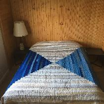 Courthouse steps quilt! Blues: Naturally dyed indigo linens, with the odd strip of raw silk. Bei...