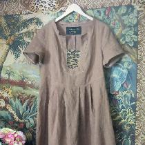 Ginger Linen Dress with Leopard cotton inset...