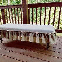 For this bench slip cover I used 7.1 oz white softened for the top and IL020 natural softened fo...
