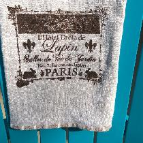 Linen (4C22)bath towels, screen printed with fabric paint. Extra large, completely bound in stri...