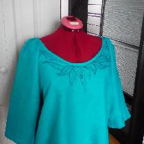 Blouse with applique in IL020 TILE BLUE...