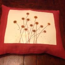 I made this pillow with Fabrics Store's Cardinal linen. I used a photograph of Scabiosa, a seed ...