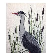 HERON - designed and stitched by me using doggie bag pieces...