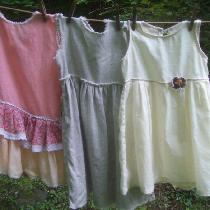Three little girls dresses, size 4, made with. from right to left, Krista natural, 019,  with a ...