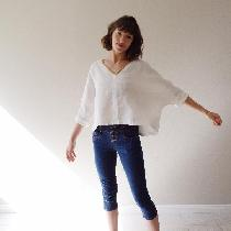 One of a kind v-neck blouse made with heavy weight bleached available at www.etsy.com/shop/shiel...