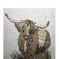 HIGHLAND COW - raw edge applique designed and stitched by myself using doggie bag linen pieces...