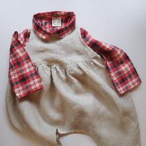 Gathered harem style kids romper. Plaid Peter Pan collar simple button up shirt. ...
