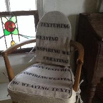 I used 4C22 natural rustic linen and script linen remnants from local drapery shop. I fashioned ...